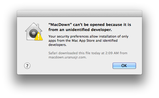 macOS app block warning.